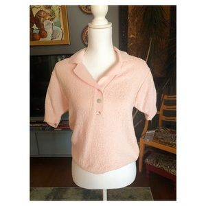 NWT Pink Vintage Knit Golf Polo
